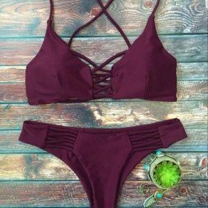 Purple/Maroon Bikini Bathing Suit Set